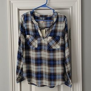 Cute plaid polyester top